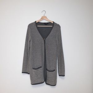 Lands' End Gray & White Striped Cardigan Small